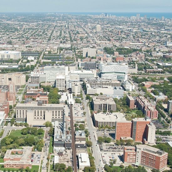 An aerial view of UIC's west campus.