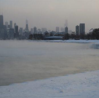 The Chicago loop during the 2014 polar vortex.