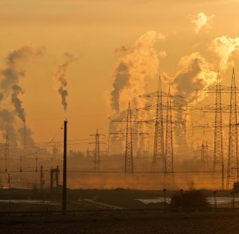Sunset Factory Pollution Image
